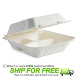 BioPak BioCane Regular Dinner Box - 3 Compartments