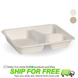 BioPak BioCane 3 Compartment Takeaway Container Base