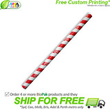BioPak Jumbo Red Striped Paper Straws