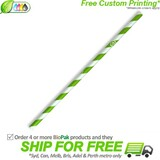 BioPak Regular Green Stripe Paper Straws
