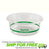 BioPak 600mL Wide Clear Bioplastic Deli Bowl