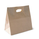 Brown Kraft Takeaway Bag With Die Cut Handles